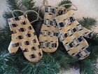 Handmade Christmas Mittens Primitive Vintage Woven Coverlet Ornament Gift Idea