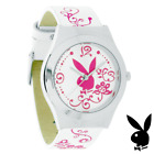 NEW RARE Playboy Watch Ladies Leather Stainless Steel Quartz Silver White Pink