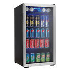 Danby 120 Can Beverage Center Soda Beer Bar Mini Fridge Cooler, Stainless Steel