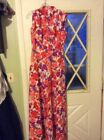 Vtg 60s MOD Psychedelic Maxi Dress Hippie Floral Boho 16 TALL 70s
