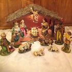 Vintage Paper Mch Hand Painted Nativity Set Lighted Musical stamped Japan