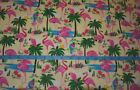Pink Flamingo Exotic Birds Tropical Palm Trees Yellow Cotton Flannel Fabric BTY