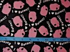I Love Bacon Pink Pigs Cotton Flannel Fabric BTY