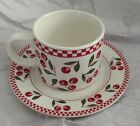 Majesticware by Oneida Cherries Jubilee Pattern Cup & Saucer Set - EUC