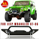 For 87 06 Jeep Wrangler TJ YJ Front Bumper Built In LED Lights W Winch Plate T