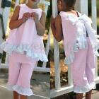 NWT Girls pink seersucker sleeveless boutique capri outfit w ruffles Size 3t