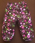 EUC Rugged Bear Baby Toddler Girls Snow Ski Pants Brown Pink Floral 12 Months