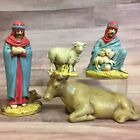 Vtg 4 pc Shepards Sheep Cow Christmas NATIVITY Figures Handpainted Ceramic