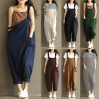 ZANZEA Womens Vintage Bib Cargo Pants Casual Wide Legs Dungaree OVeralls Plus