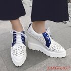 Womens Hollow Out Pointy Toe Lace-up Wedge Platform Breathable Causal Shoea Chic