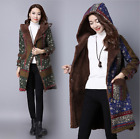 Vintage Womens Winter Fleece Coat Floral Thick Lined Cotton Hooded Warm Jacket R