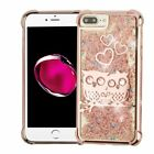 For Apple iPhone 7 Plus 8 Plus Rose Gold Owl Hard PC TPU Rubber Case Cover