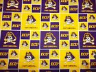 EAST CAROLINA UNIVERSITY PEE DEE the PRIATE  1/2 YD NEW SQUARE DESIGN 100%COTTON