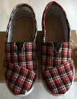 Toms classic youth plaid slip on shoes US size 1213115 233545 Red
