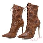 Womens Motoecycle Lace up Stilettos 12cm High Heels Poiinty Toe Ankle Boots Pump