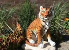 20Tall Orange Bengal Tiger Raja Sitting On Guard Decorative Garden Statue