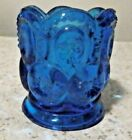 L E SMITH MOON AND STARS BLUE TOOTHPICK HOLDER VERY NICE