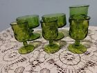 Lot of 6 vintage olive green glasses small goblets to dessert glass misc
