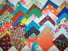 Large lot 200 cotton fabric quilt block 5 squares Variety Stripes Floral Bright