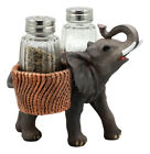 Trumpeting Elephant Carrying Glass Salt And Pepper Shakers Holder Figurine