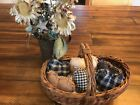 New Homespun Plaid Ornies Bowl Fillers Rag PrImITive Hearts Black Tan Handmade 6