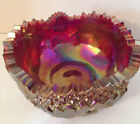 Vintage Red Amber Carnival Glass Bowl Buzz Star LE Smith