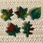 Goofie Button Set - Colorfully Painted Fall Green Leaves