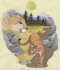 Embroidered Short Sleeved T shirt Spirit of the Cougar J2791 Size S XXL