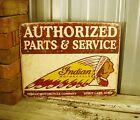 Indian Motorcycle Authorized Parts Service Metal Tin Sign Vintage Rustic Garage