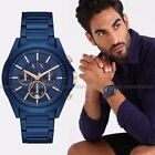 NWT❤️ Armani Exchange AX2607 Men's Blue Ion Plated Stainless Steel 44mm Watch