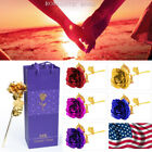 24K Gold Plated Rose Flower Valentines Day Gift Party Wedding Birthday US SHIP
