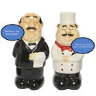 Funny Talking Chef  Waiter Salt And Pepper Shakers Set Novelty Battery Operated