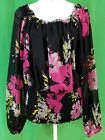 Charter Club Black Pink  Gray Long Sleeve Semi Sheer Floral Blouse Size 18W
