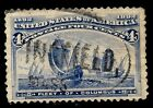 Sc 233 Springfield Town Fancy Cancel SON Columbian 4 Cent 1893 US Stamp 38P81