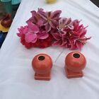 FIESTA 2 NEW PERSIMMON orange round candlestick holders 3-5/8