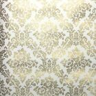 1960s Retro Floral Damask Vintage Wallpaper Metallic Gold Flowers on White