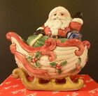 Vintage Fitz and Floyd Kris Kringle ~ Santa in Sleigh ~ Christmas Salt