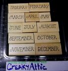 MONTH CALENDAR 12 RUBBER STAMPS ALIAS SMITH ROWE RETIRED JAN FEB APRIL MAY JUNE