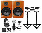 "(2) Rockville DPM8C 8"" 600w Dual Active Studio Monitors+Stands+Headphones+Mic"