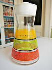 Libbey Glass Colorful Orange Green Yellow Spotted Stripes Carafe Pitcher Jug