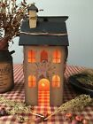 Primitive* Wooden Electric Lighted Saltbox House* Country Farmhouse* Mustard
