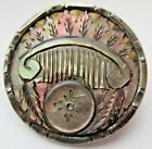 Most Incredible X LARGE Antique Steel Cup BUTTON w/ Ornate Carved Pearl (B12)