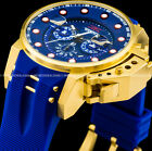 Invicta Men's I Force Bomber Chronograph 18K Gold Blue Dial Strap Watch 25273