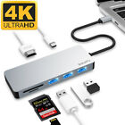 Aluminum USB Type C 7in1 Hub Adapter 4K HDMI Card Reader USB 30 87W PD Charging