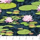 Northcott Naturescapes Blue Heron 21821 49 Lilly pads Cotton BTY