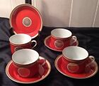 Fitz & Floyd Medallion Orange Coral Gold Hollywood Regency 4 Cups And Saucers