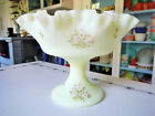 Fenton Glass Hand Painted by Pam A. Pink Blossoms Burmese Satin Custard Compote