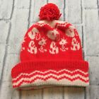 70s 80s VTG SNOOPY PEANUTS WOODSTOCK POM Ski Knit Hat Beanie Winter Red Striped