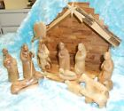 Hand Carved Olive Wood Nativity Faceless Set Never Displayed from The Holy Land