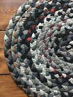 Old Antique Wool Braided Rug Country Colors AAFA 2 X 3